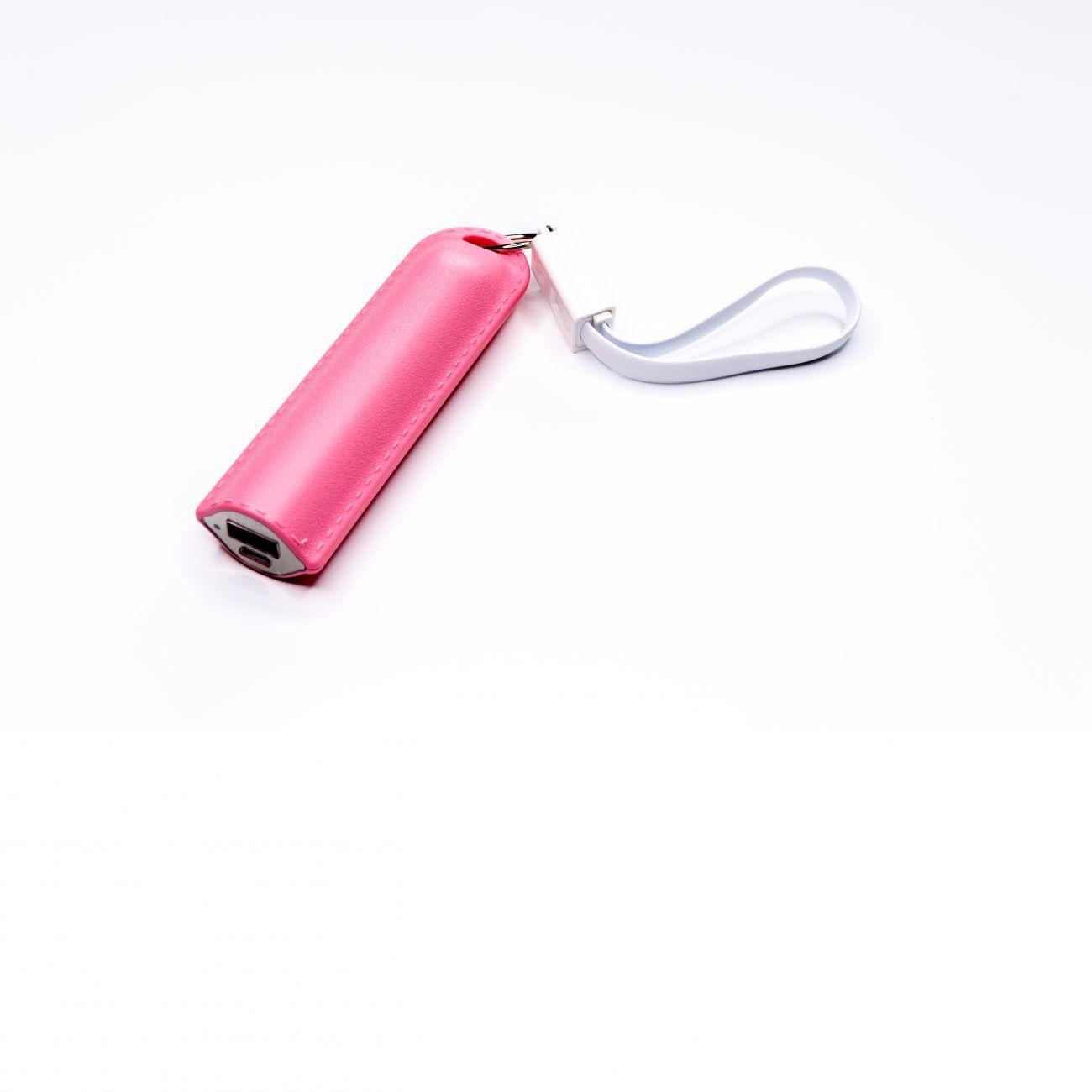 Różowy powerbank z logo firmy nadruk gadżet reklamowy